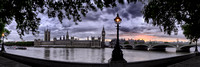 Sunset over the Thames & Big Ben - panorama